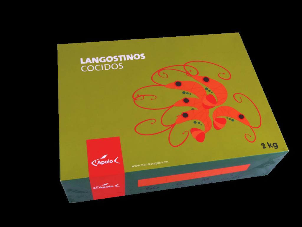 Caja de Langostinos Cocidos de Apolo.