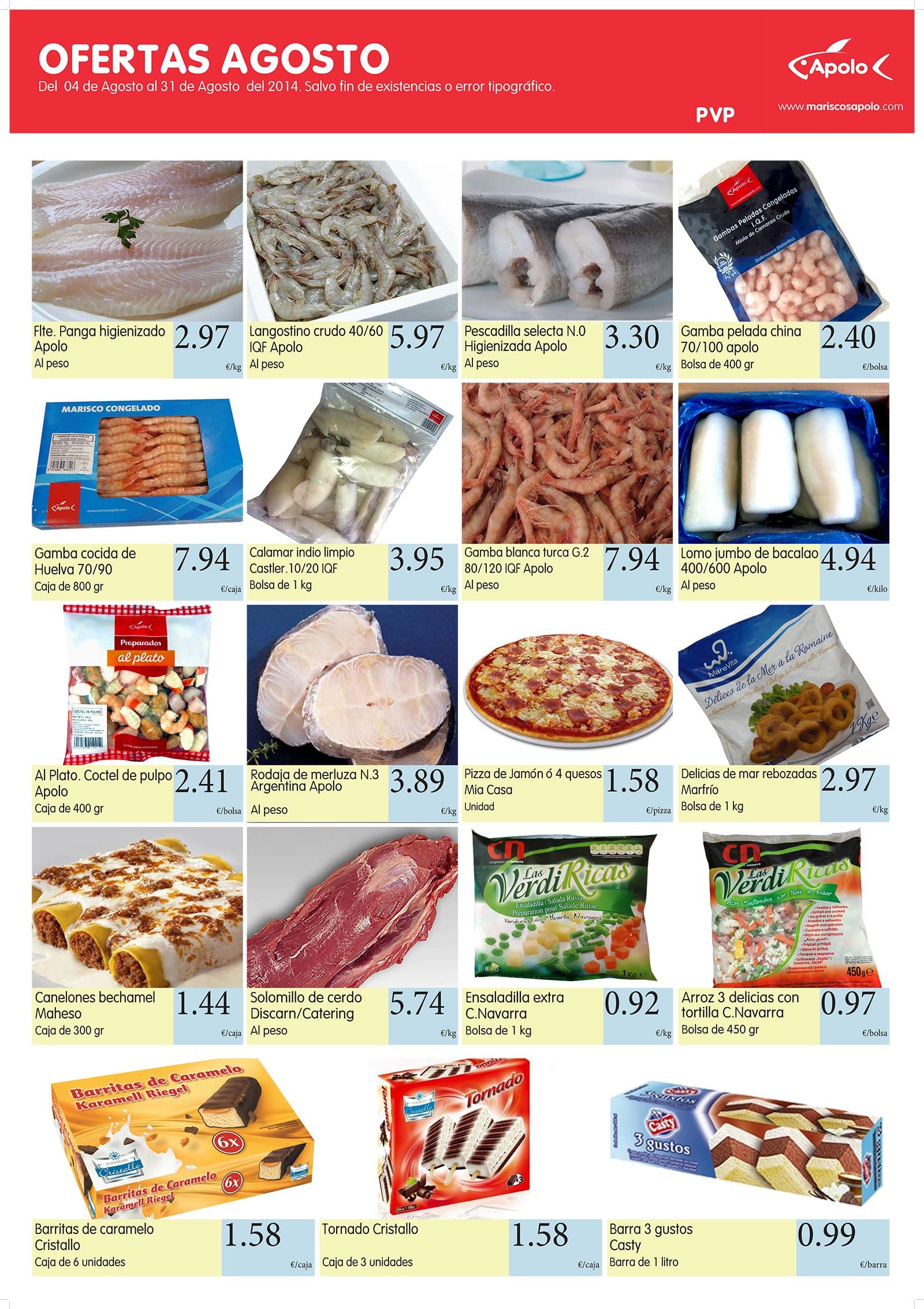 ofertas de productos congelados Apolo agosto
