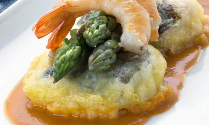 receta de bacalao con langostino apolo