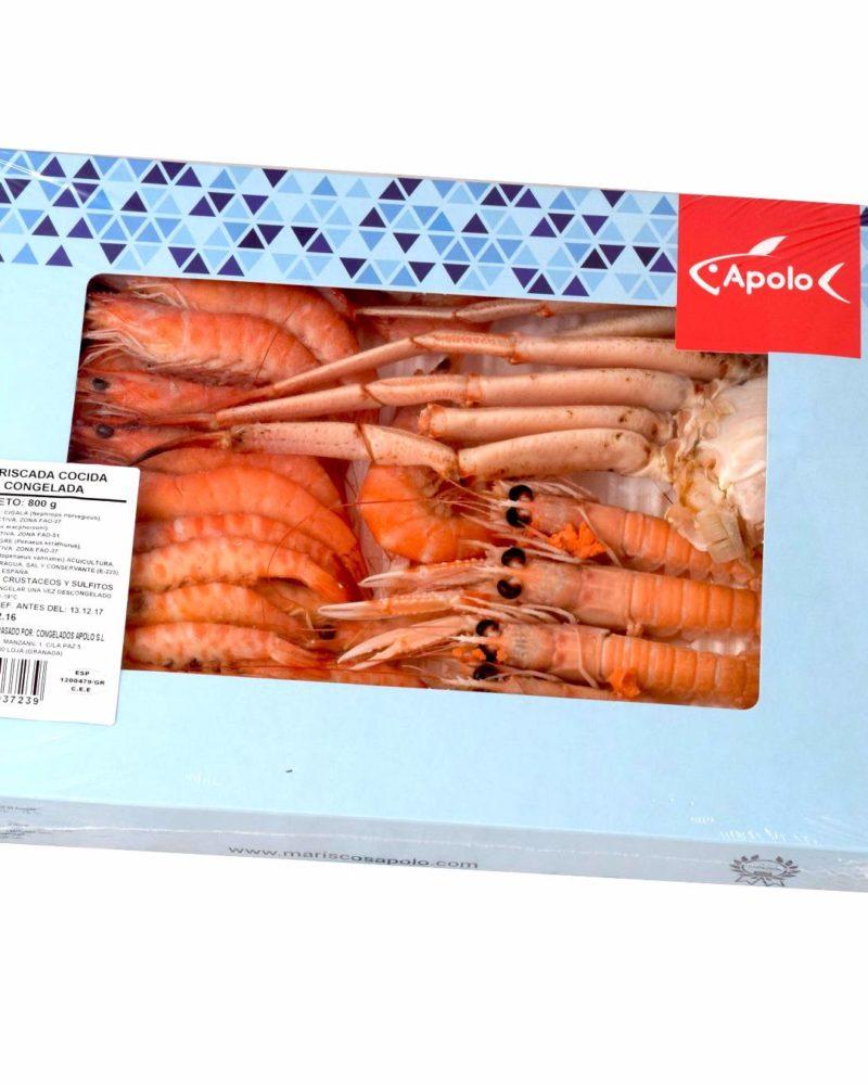 Mariscada cocida Apolo, cigalas, cangrejo rojo, langostinos tigre y langostino